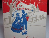 Art deco 1930's-40's christmas card colorful victorian couple and scotty dog on leash walking in snow past cottage