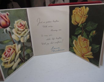 Gorgeous 1940's A Triple Card birthday card with 3 panels of colorful red ,yellow ,and pink roses graphics Olympic Art Co.