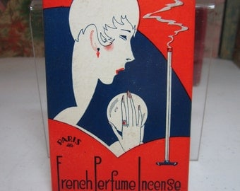 Fantastic Art Deco 1920's-30's incense box French Perfume Incense profile of deco lady holding crystal ball,tall stick of incense burning