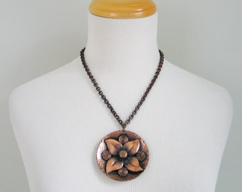 Vintage Large Copper Pendant Necklace on Thick Textured Chain
