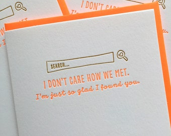 Valentine Card - Love Card - Love card for Internet Dating. Letterpress Card. Tinder Card. Bumble Card / Love Card / DeLuce Design
