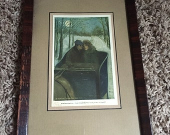 Winter Moon print postcard, framed man and woman in sleigh