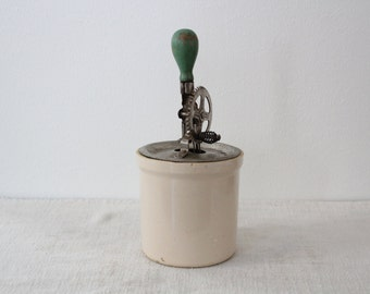 Vintage High Speed Hand Egg Beater Mixer Green Handle with White Crock