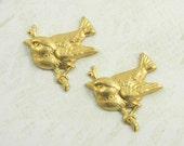 Raw Brass Bird, Bird Stamping, Brass Stamping 22mm x 23mm - 4 pcs (r135)