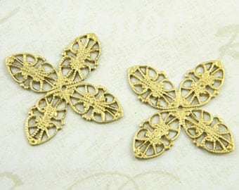 Raw Brass Filigree Vintage Style Stamping Wrap Pendant 33mm - 6 pcs. (r172)