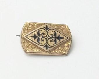 Antique Brooch Rose Gold Plate Fleur-de-lis Black Enamel Costume Jewelry Pin on Etsy