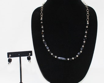 Silver and Black Necklace Set