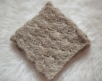 SALE - Newborn Baby Blanket,  Mohair Blanket, Tan Wrap, Photo Prop
