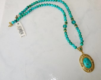 Vintage Necklace 1928 Jewelry Co Green Round Faux Malachite Beads Pendant Unused with tags