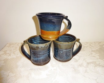 Vintrage Stoneware Mugs Blue Brown Ceramic Mixed Set of 3 J. Gray