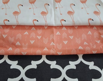 Baby Girl Crib Bedding - Flamingo, Black Quatrefoil, and Coral Bedding Ensemble with Patchwork or Blanket