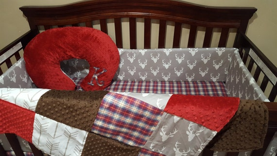 Rustic Baby Boy Crib Bedding Buck Deer White Tan Arrows