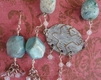 "Rustic Boho Bird Necklace and Earring Set - Vintaj - ""Fly Away"""