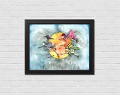 Original watercolor art, Whimsical Art, Speeding Witches art, Witch Art, Wall Art, Home Decor, Gift for Her, Strong Women