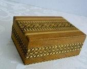 Vintage Carved Wood Trinket Box with Hinged Lid