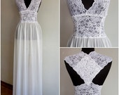 White  Nightgown  Nightgown Bridal Lingerie Wedding Sleepwear Lace and  Chiffon Lingerie Long Sleepwear Lingerie Honeymoon size Medium