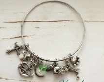PERSONALIZED Bangle Bracelet, You Pick Charms, Handmade by Okrrah, FREE Shipping