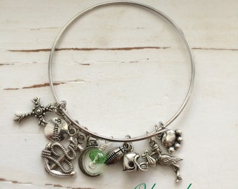 PERSONALIZED Bangle Bracelet, You Pick Charms, Handmade by Okrrah, FREE Shipping