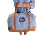 Personalized Seersucker Weekender Bag Navy Monogrammed Tote Bag Bridesmaid Gift Embroidered