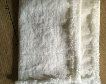 White linen napkins set of two