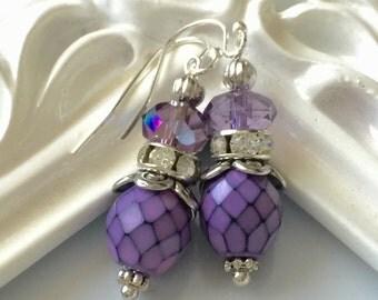Purple Earrings, Victorian Earrings, Violet Earrings, Czech Glass, Dangle Earrings, Women's, Bridal, Christmas Gift