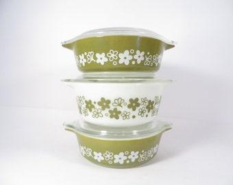 Pyrex Avocado Green Crazy Daisy Casseroles with Lids  - Set of 3 Green Spring Blossom Pyrex Casseroles