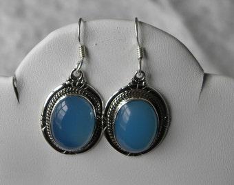"""Blue Chalcedony Earrings Handmade Earrings Blue Semiprecious Gemstone Earrings 1 1/2"""" Sterling Silver Earrings Take 20% Off Women's Jewelry"""