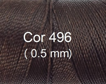 Linhasita (0.5 mm) Dark Chocolate cor 496 100% Waxed Polyester Macrame Cord/ Beading