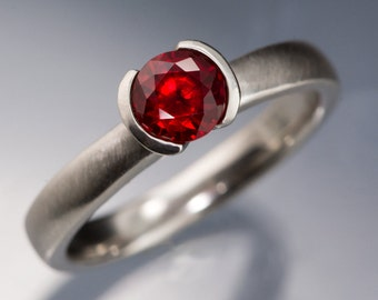 Chatham Created Ruby Half Bezel Engagement Ring, in Palladium, Platinum, White Gold, Rose Gold or Yellow Gold, Ethical Engagement Ring