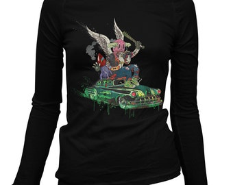 Women's Death Rattle Long Sleeve Tee - S M L XL 2x - Ladies' T-shirt, Monster, Cars, Custom Culture, Crazy - 1 Color