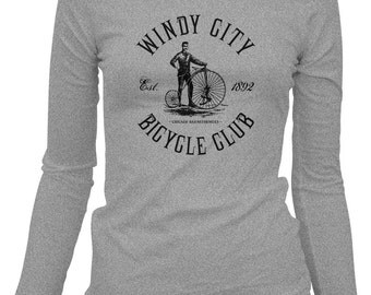 Women's Chicago Bicycle Club Long Sleeve Tee - LS Ladies T-shirt - S M L XL 2x - Chicago Shirt, Bike, Cycling - 2 Colors