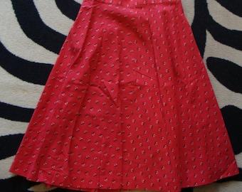 RED calico COTTON SKIRT vintage floral knee skirt summer S 28 waist