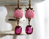 Antique Czech pink/gold G...