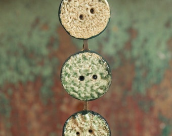 Antique button bracelet, pottery/clay handmade buttons, vintage, assemblage, green, jewelry,
