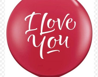 """Giant Printed Balloon """" I Love You""""  forValentine's Day, Engagement photo shoot and centerpieces."""