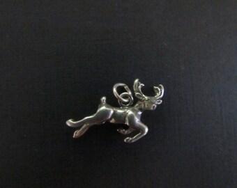 Vintage 3D Reindeer for Christmas Sterling Silver Pendant