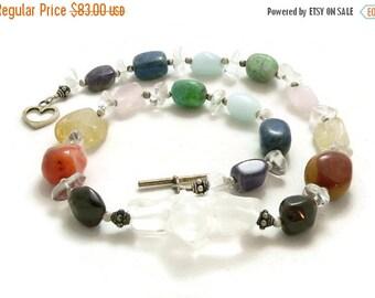 SALE Chakra Rainbow Gemstone Nuggets Chunky Statement Necklace - Sterling Silver - Balance and Healing - Artisan Jewelry