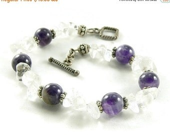 SALE Crown Chakra Crystals Chunky Bracelet - Amethyst - Quartz Crystal - Balance and Healing - Artisan Jewelry