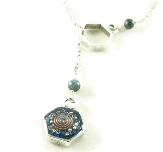 Orgone Energy Honeycomb Lariat Necklace in Antique Silver Finish with Lapis Gemstones - Hexagon - Orgone Energy Necklace - Dainty Necklace