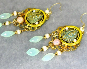 Goddess Earrings, Egyptian Goddess, Grecian Goddess,Aqua Chalcedony Dew Drops,Freshwater Pearls,Vintage Harlequin Opals on Gold Filled Wires