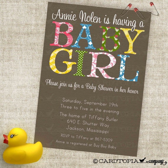 Shabby Chic Baby Girl Shower Invitation in Trendy Patterns Custom Invites with Professional Printing Option