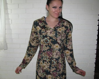Vintage 80's floral rayon dress lace up back size 12 petite