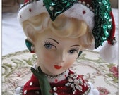 """Ladyhead Vase Postcard Lady Head Vase Holiday Photo Postcards """"Have a Fab Holiday """" Retro Christmas Holiday Cards Post Cards Gift Topper"""