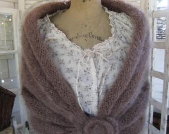 SALE Vintage Cape Mocha Mohair Capelet Shawl Shrug Hand knit 60s Versatile