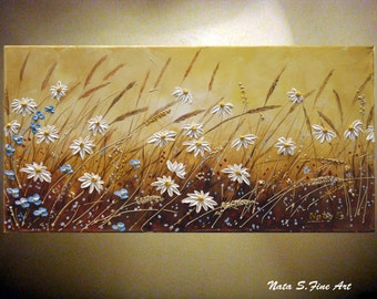 "Daisy Original Art Painting.Modern Wildflower Field Painting.Contemporary Abstract Daisy Painting.Ready to Ship 24"" x 12""- by Nata S."