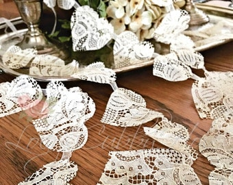Vintage Lace Heart Garland Ivory Wedding Garland Shower Decoration Heart Banner Antique Lace Hearts Home Decor Photo Prop (3)