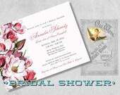 Printed Magnolia Bridal Shower Invitations - Vintage Pink Flowers - Custom Floral Spring Bridal Shower Invites - Southern Bridal Shower