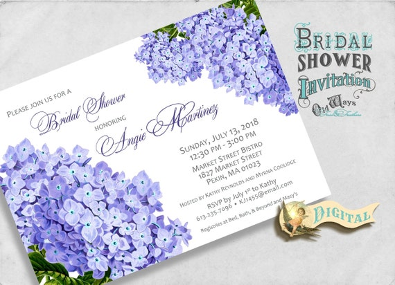 Cottage Garden Bridal Shower Invitation - Purple Hydrangea Flowers - Printable Bridal Shower Invite 5x7 or 4x6 Digital JPEG or PDF File