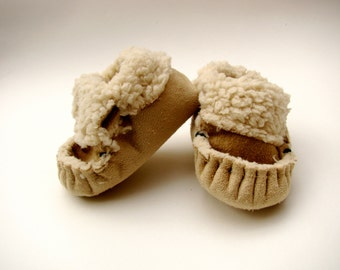 Baby Shoes,  soft soled shoes, crib shoes, slippers, new baby, tan colored baby moccasins