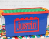 """Personalized Lego/Duplo Storage Container w/Building Plate - Lego Theme Birthday Gift - Kids Travel Activity Idea - 11.5""""W x 7""""D x 5.75""""H"""